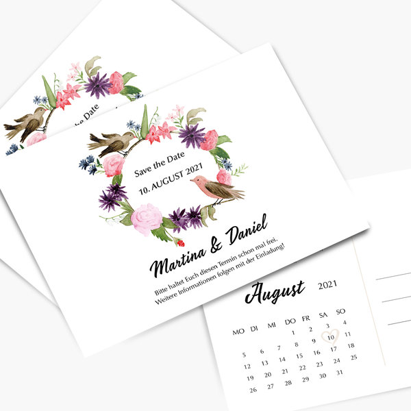 Save the Date Vintage Hochzeit andbuttercups Illustration