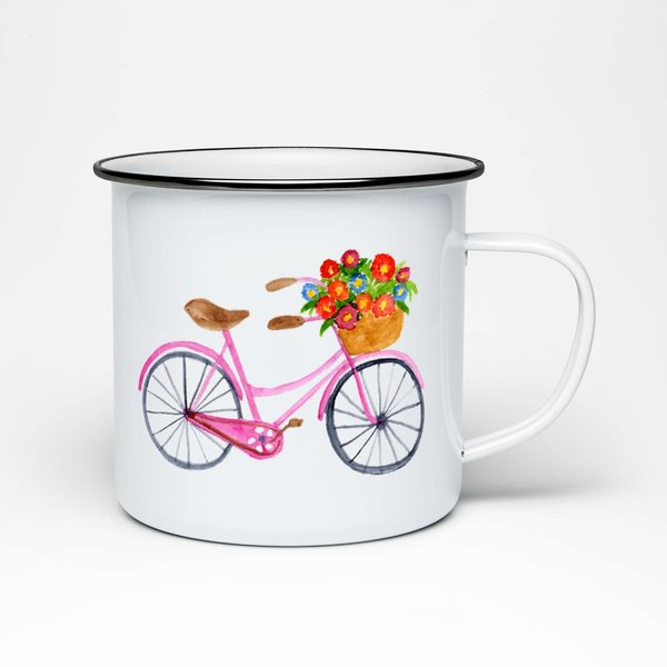 Emaille Tasse Fahrrad • Illustration